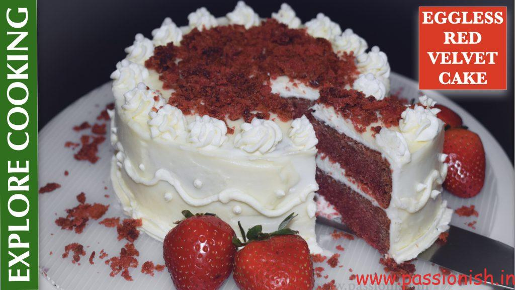Eggless Red Velvet Cake with ButterCream Frosting